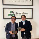Il senatore Rufa visita l'industria Saxa Gres di Anagni.